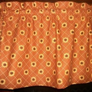 Sunflowers Checked Rust Striped country Valance